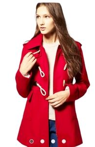 SO Red Pea Coat, size L